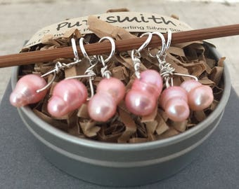 Whiskey Pink Freshwater Pearl & Sterling Silver Stitch Markers for Knitting,Set of 6,Knitting Notions, Gift for Knit