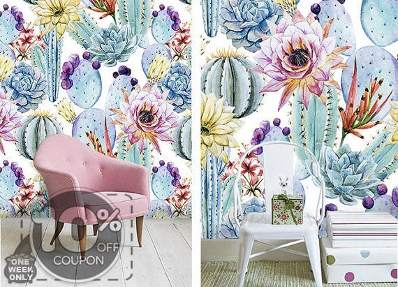Removable Wallpaper Watercolor Cactus Succulent Adhesive Wall
