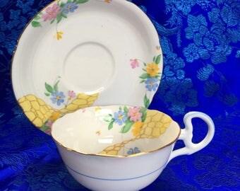 Vintage Grafton Bone China Tea Cup and Saucer England