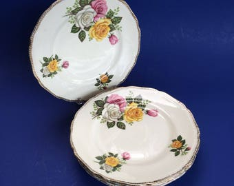 """6 Vintage Royal Swan June Bouquet 7"""" Side Bread Plates Pink Yellow Roses"""