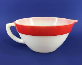 Vintage Retro Fireking Large Red Rimmed Batter Bowl Mixing