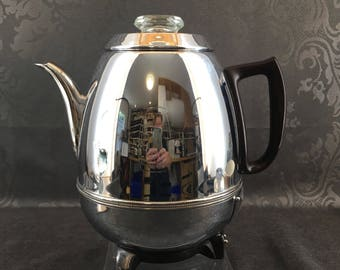 Vintage General Electric P400A - 9 Cup Pot Bellied Percolator Chrome Coffee Maker