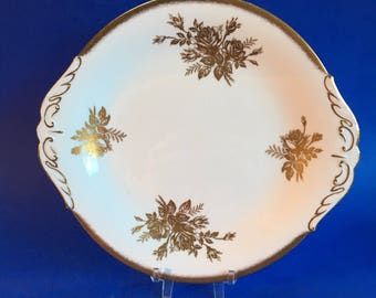 Paragon Anniversary Rose Gold English Bone China Cake Plate or Serving Platter