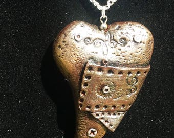 steampunk heart necklace. steampunk pendant. polymer clay heart pendant. ooak handmade accessories