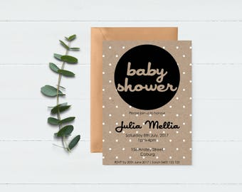 Kraft Invitation - Paper Look Invite - Polka Dot Invite - Baby Shower Invite - Shower Invitation - Baby Sprinkle Invite - Printable Invite