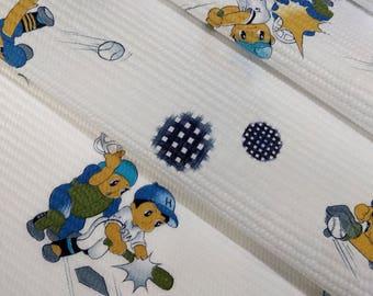 children's waffle weave cotton yukata fabric boy baseball players  - by the yard