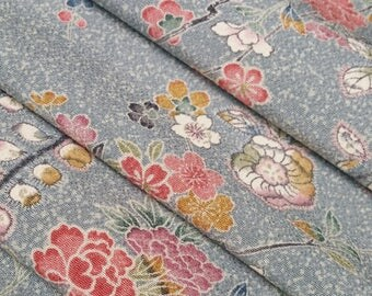 Chirimen crepe silk Kimono fabric - blue-gray floral - by the yard