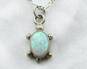 Cowabunga! Small Vintage Sterling Silver Opal Turtle Pendant.  Includes a 16 Inch Sterling Silver Chain! #SMALLT-SPC5