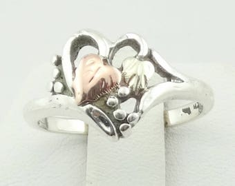 Vintage 12K Black Hills Gold and Sterling Silver Ring FREE SHIPPING! Size 6 1/2  #BHG1-SR1
