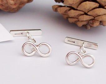 Silver Cufflinks , Infinity Cufflinks, Silver Cuff Links  , Anniversay , Wedding , Handmade in the UK, Hallmarked Cuff links ,