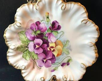 """LIMOGES, FRANCE, A. Lanternier, Artist signed, Floral, Violets, Scalloped Edge, 8"""" Plate"""