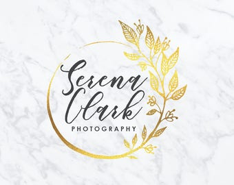 Premade Logo Design | Watercolor Logo Design | Photography Logo | Branding Set | Gold Foil Logo | Custom Logo Design | Marketing Kit | #16