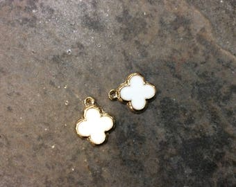 Quatrefoil charms in White enamel and gold finish package of 2 charms White Enamel Clover Charms