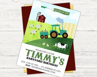 Farm and tractor birthday invitation