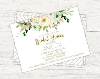 Watercolor Floral baby or bridal shower invitation