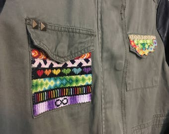 Upcycled friendship bracelets jacket!
