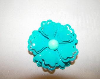 Vintage Turquoise Enamel Multi Layer Flower Pin