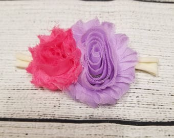 Purple and pink double shabby chic flower nylon headband