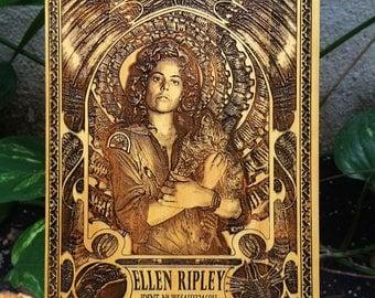 Ellen Ripley Alien Movie Wooden Poster, H.R. Giger Style, Xenomorph Alien, Original Custom Boyfriend Gift