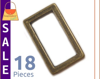 "On Sale : 1 Inch Flat Cast Rectangle Ring, Antique Brass Finish, 18 Pieces, Handbag Purse Bag Making Hardware Supplies, 1"", RNG-AA213"