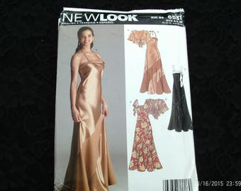 New Look Sewing Pattern 6531 Misses Formal, Party,Special Occasion Dresses,Gowns and Capelet sewing pattern Size A (6-8-10-12-14-16) uncut