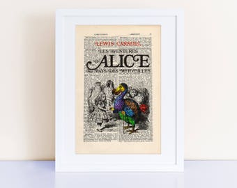 Alice au pays des merveilles by Lewis Carroll Print on an antique page, book lovers gifts, Alice in Wonderland