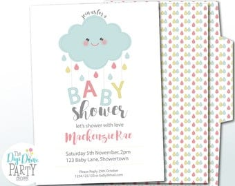 Rain Cloud Baby Shower Printable Party Invitation in Blue, Pink & Yellow, 5x7in. Instant Download