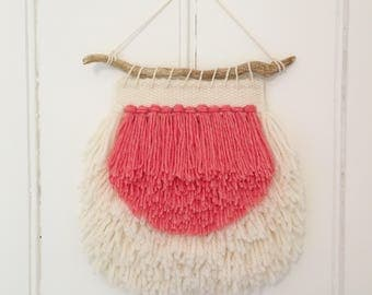 Mini Coral and Off-White Hand Woven Wall Hanging