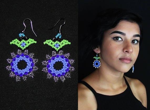 Huichol Earrings, Beaded Earrings, Native American Earrings, Flower Earrings, Seed Bead Earrings, Mexican Earrings, Huichol Jewelry Beadwork