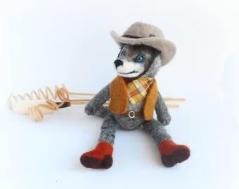 OOAK Art Doll Wool Wolf, Needle Felted Wolf Cowboy, Felt Wolf Toy, Wool Felt Cowboy, Taddy Animals, American History, Original Unique Gift