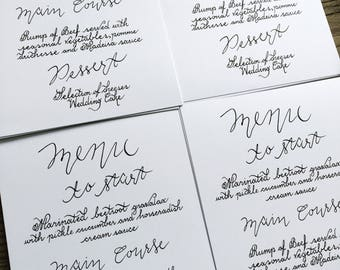 Menu Handwritten in Calligraphy for a Wedding Reception/Dinner Party. Written in Gold or Black Calligraphy on A5 White/Red Cardstock