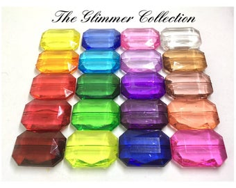 The GLIMMER Collection, large Translucent Beads, Faceted Nugget Bead, 30mm beads, rainbow beads, bracelet beads, acrylic beads, large beads