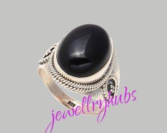 Black Stone Ring, Black Onyx Ring, Black Silver Ring, Sterling Silver Ring, Women Ring, Bohemian Ring, Size - US 4 to 16,  R24BO