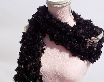 Convertible scarf shawl, scarf for evening wear, chic black, teal, purple scarf