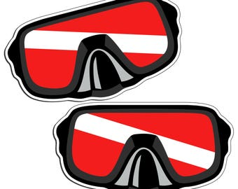 Diver Down Mask Sticker Vinyl Decal for Oxygen Tank, Gear Bag, Back Glass Graphic Diving Car Truck Boat Box