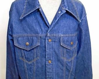 Vintage Men's JCPenney 1970's Big Collared Blue Lined Denim Long Sleeve Button Up Jacket Size Medium!