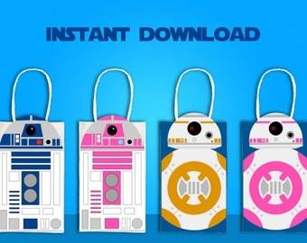 Star Wars R2D2 & BB8 Party Favor Bag Printable, Star Wars Birthday Party Goodie Bag, Star Wars Party Supplies, Star Wars Party Favor