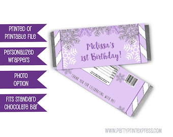 Winter ONEderland Candy Bar Wrappers - Purple Snowflake Birthday Party Favors - Winter Wonderland Birthday Favors - Silver Glitter Girl