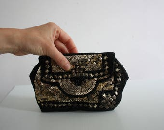 1930s Art Deco Black and Gold Clutch