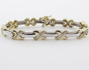 Diamond Tennis Bracelet 14k Yellow And White Gold X O style 7 Inches 1.50 carats
