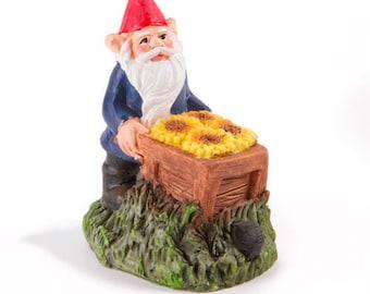 Fairy Garden  - Gnome with Wheelbarrow - Miniature