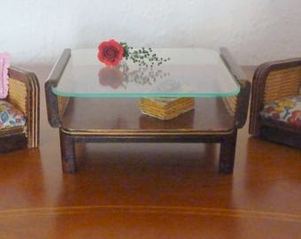 Vintage of antique coffee table with glass top and 2 chairs - 1950 Germany