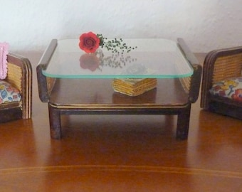 Vintage Of Antique Coffee Table With Glass Top And 2 Chairs 1950 Germany