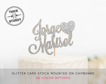 Personalized Glitter Wedding Cake Topper, Wedding Cake Topper, Custom Wedding Topper, Heart Cake Topper, Engagement Cake Topper