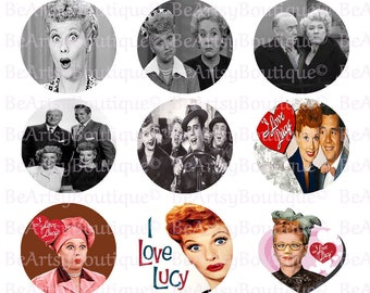 I Love Lucy Bottle cap Images, 1 inch circles, Instant download