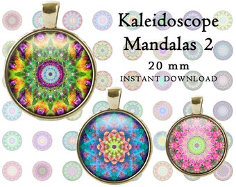 Bottle Cap Images 20 mm Kaleidoscope Mandala INSTANT DOWNLOAD Collage Sheet Printable Cabochons for jewelry making scrapbooking cake toppers
