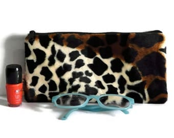 Faux fur makeup bag, luxury cosmetic case,  jungle pen bag, animal print, female pouch, cosmetic bag, pencil case, toiletry storage