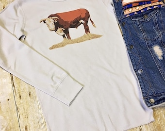 Hereford Bull long sleeve thermal / ranch / cattle / cowgirl / cow