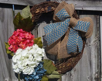 FREE Shipping ----Hydrangea Door Wreath, Summer Door Wreath, Hydrangea Wreath, Summer Cottage,Front Door Wreath