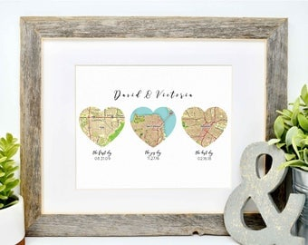 Unique Wedding Gift for Couple, Map Heart Art, Heart Map Print, Newlywed Gift, Personalized Map Art, The Best Days of Our Life, Husband Gift